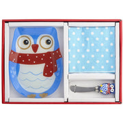 Owl Glass Serving Platter Gift Set