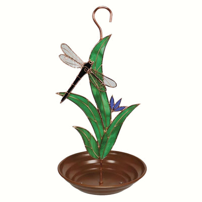 Black Dragonfly Stained Glass Bird Feeder