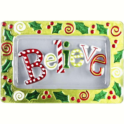 Believe Glass Holiday Serving Platter
