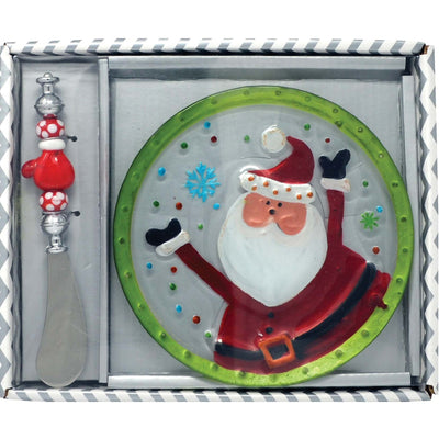 Santa Glass Serving Plate Gift Set