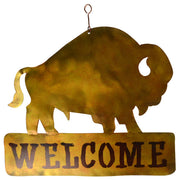 Bison Metal Hanging Welcome Sign