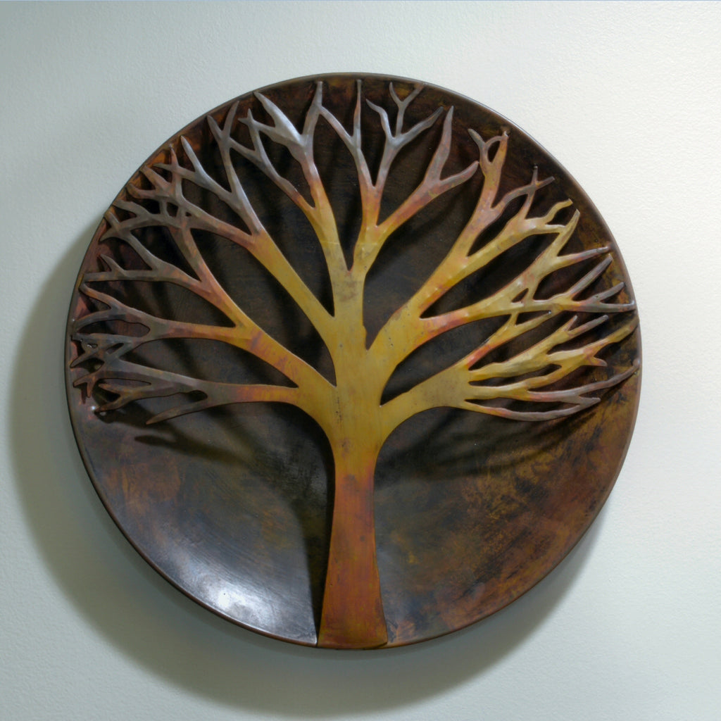 Raised Tree Flamed Metal Wall Sculpture 12 inch