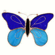 Blue Butterfly Stained Glass Suncatcher