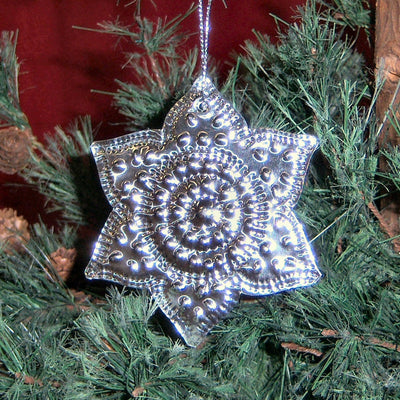 Silver Flower Metal Tree Ornament Set of 6