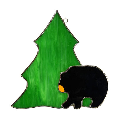 Black Bear Stained Glass Suncatcher