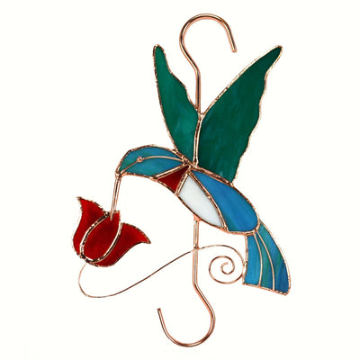 Hummingbird Red Flower Glass Hanging Hook
