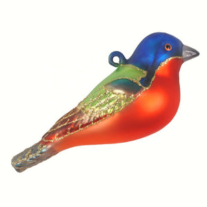 Painted Bunting Glass Bird Ornament