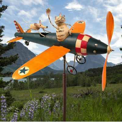 Cat & Mouse Airplane Whirligig Garden Stake