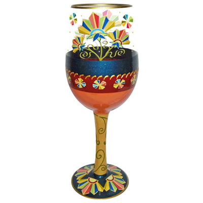 Deco Floral Wineglass