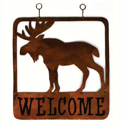Moose Metal Hanging Welcome Sign Square