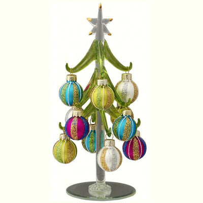 Glass Tree w/Pastel Ornaments 8 inch