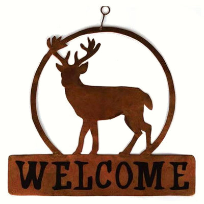 Deer Metal Hanging Welcome Sign