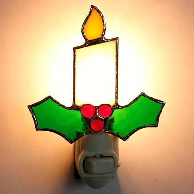 White Candle Stained Glass Night Light