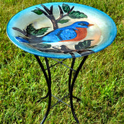 Bluebird Glass Bird Bath w/Stand