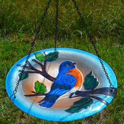 Bluebird Glass Hanging Bird Bath