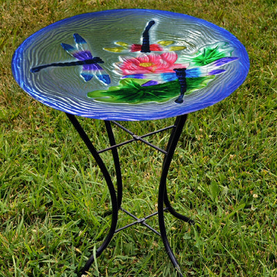 Dragonflies Glass Bird Bath w/Stand