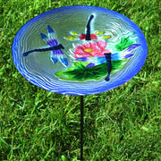 Dragonflies Glass Bird Bath w/Stake