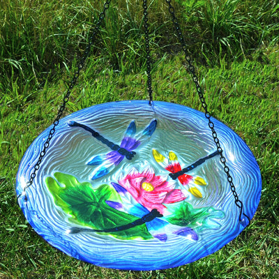 Dragonflies Glass Hanging Bird Bath
