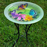 Butterflies Glass Bird Bath w/Stand