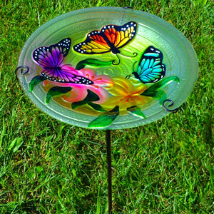 Butterflies Glass Bird Bath w/Stake