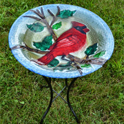 Cardinal Glass Bird Bath w/Stand