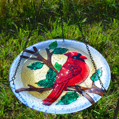 Cardinal Glass Hanging Bird Bath