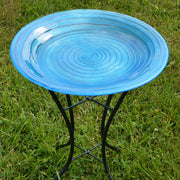 Blue Swirls Glass Bird Bath w/Stand