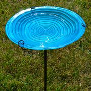 Blue Swirls Glass Bird Bath w/Stake