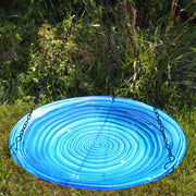 Blue Swirls Glass Hanging Bird Bath