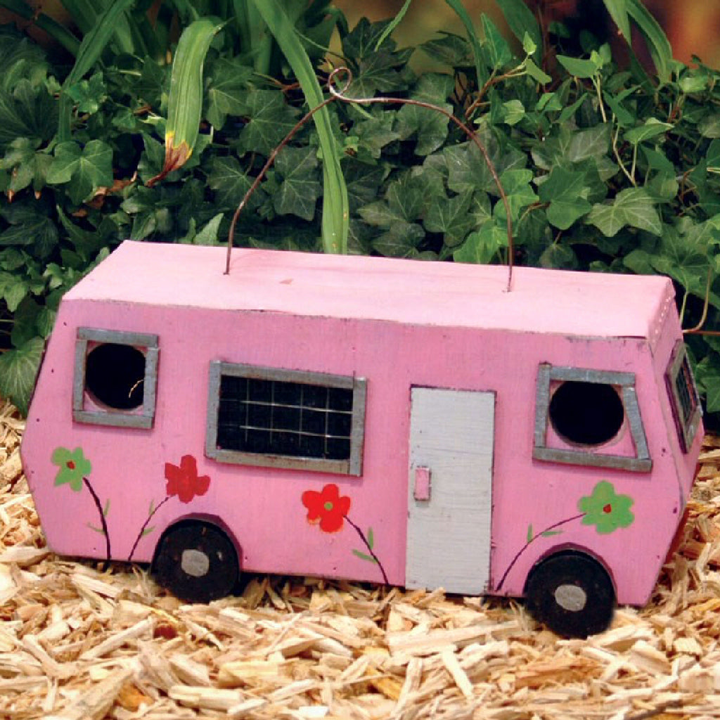 Retro Pink Luv Bus Birdhouse