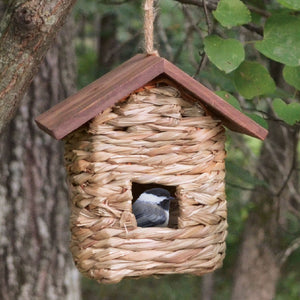 Grass Roosting Pocket Bird House w/Roof