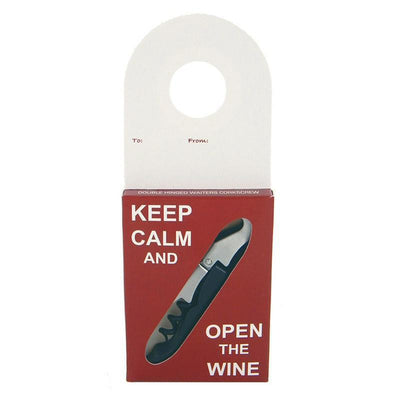 Corkscrew Bottle Gift Tag Keep Calm