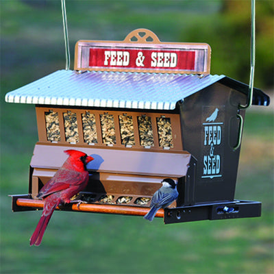 Rustic Farmhouse Feed & Seed Bird Feeder