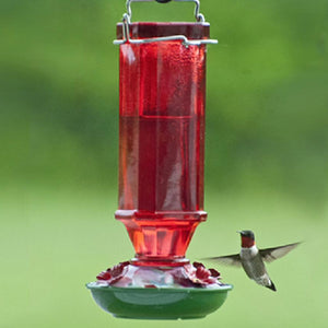 Vintage Ruby Glass Hummingbird Feeder