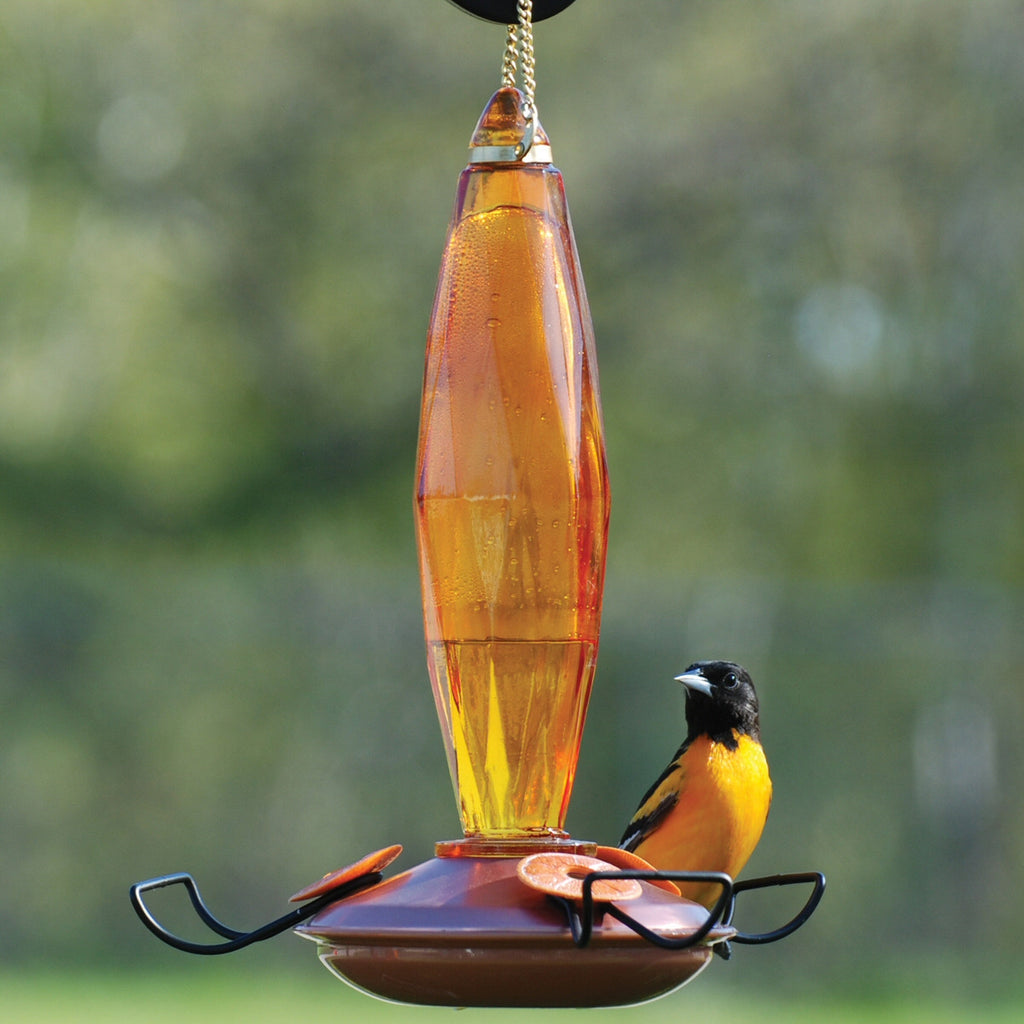 Amber Cut Glass Oriole Feeder