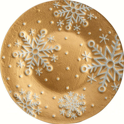 Platter- Gold Snowflakes - 12 in Round - Momma's Home Store