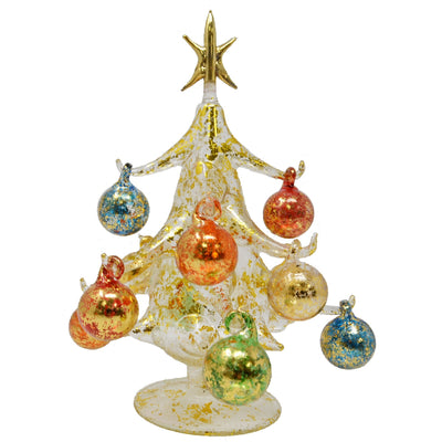 Buon Natale Glass Tree Gold 8 inch