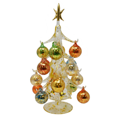 Buon Natale Glass Tree Gold 12 inch
