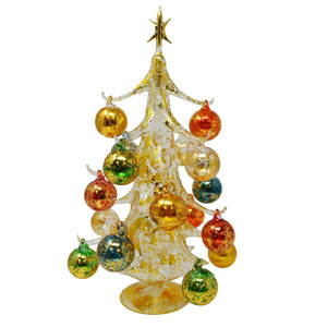 Buon Natale Glass Tree Gold 16 inch