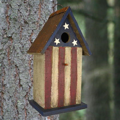 American Flag Wooden Birdhouse