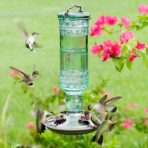 Antique Sea Green Glass Hummingbird Feeder