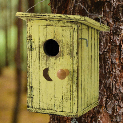 Birdy Loo Wooden Birdhouse Yellow
