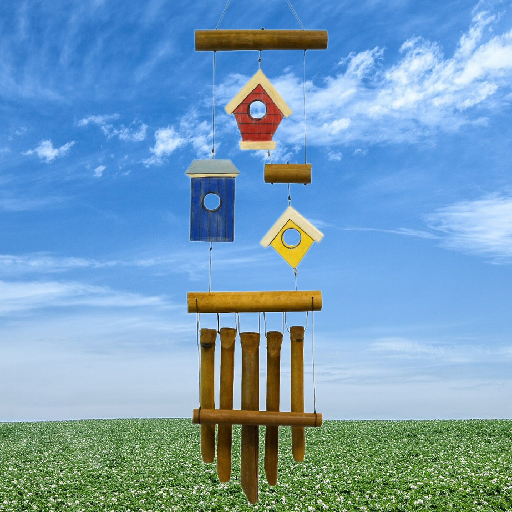 Birdhouse 3 Village Bamboo Wind Chime