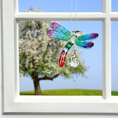 Rainbow Glass Dragonfly Crystal Suncatcher
