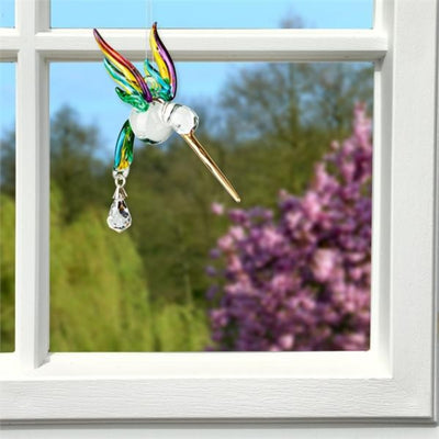 Spring Glass Hummingbird Crystal Suncatcher