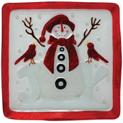 Joyous Snowman Glass Holiday Serving Platter