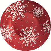 Snowflakes Red Glass Holiday Serving Platter