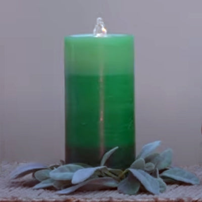 Green LED Wax Candle Fountain