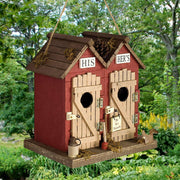 His & Hers Outhouse Wooden Birdhouse