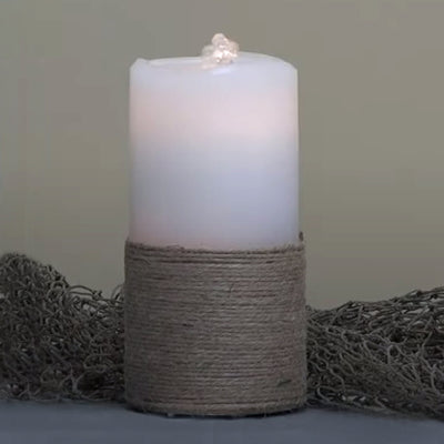 Jute Wrapped LED Wax Candle Fountain